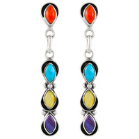 Sterling Silver Earrings Multi Gemstones E1179-C71