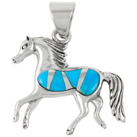Sterling Silver Horse Pendant Turquoise P3002-C05