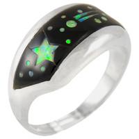 Sterling Silver Ring Black Shell R2273-C27