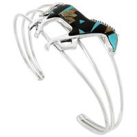 Sterling Silver Horse Bracelet Black & Brown B5530-C04