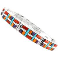 Sterling Silver Link Bracelet Multi Gemstone B5518-C51