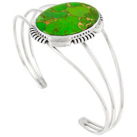 Sterling Silver Bracelet Green Turquoise B5531-C76