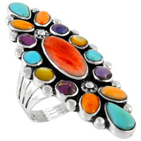 Sterling Silver Ring Multi Gemstones R2283-C71