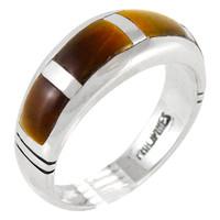 Sterling Silver Ring Tiger Eye R2025-C18