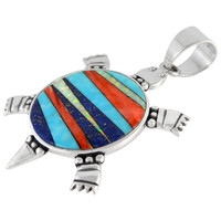 Sterling Silver Turtle Pendant Multi Gemstone P3128-C00