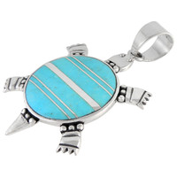Sterling Silver Turtle Pendant Turquoise P3128-C05