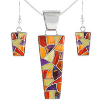Sterling Silver Pendant & Earrings Set Multi Gemstone PE4012-C36
