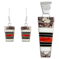 Sterling Silver Pendant & Earrings Set Multi Gemstone PE4012-C45