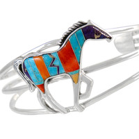 Sterling Silver Horse Bracelet Multicolor B5530-C30