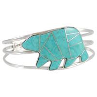 Sterling Silver Bear Bracelet Turquoise B5540-C05