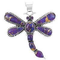 Sterling Silver Dragonfly Pendant Purple Turquoise P3132-C77