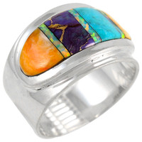 Sterling Silver Ring Multi Gemstone R2292-C01