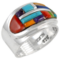 Sterling Silver Ring Multi Gemstone R2292-C51