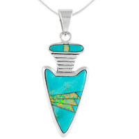 Sterling Silver Arrowhead Pendant Turquoise P3145-C21