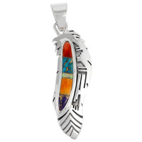 Sterling Silver Feather Pendant Multi Gemstones P3134-C00