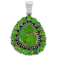 Sterling Silver Pendant Green Turquoise P3137-C76