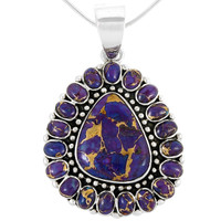 Sterling Silver Pendant Purple Turquoise P3137-LG-C77