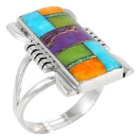 Sterling Silver Ring Multi Gemstone R2017-C01