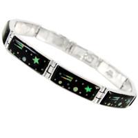 Sterling Silver Link Bracelet Black & Opal B5518-C27