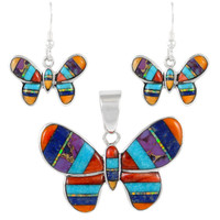 Sterling Silver Butterfly Pendant & Earrings Set Multi Gemstone PE4039-C01