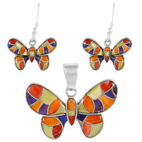 Sterling Silver Butterfly Multi Gemstones Pendant & Earrings Set PE4039-C36