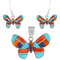 Sterling Silver Butterfly Pendant & Earrings Set Multi Gemstone PE4039-C51
