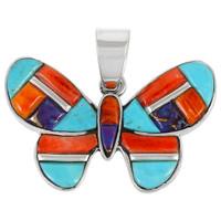 Sterling Silver Butterfly Pendant Multi Gemstone P3146-C51