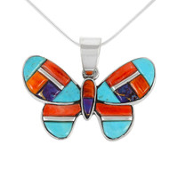 Sterling Silver Butterfly Pendant Multi Gemstone P3146-C51