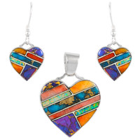 Sterling Silver Heart Pendant & Earrings Set Multi Gemstone PE4041-C01