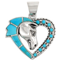 Sterling Silver Horse Heart Pendant Turquoise P3158-C05