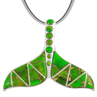 Sterling Silver Whale Tail Pendant Green Turquoise P3157-C06