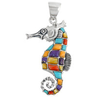 Sterling Silver Sea Horse Pendant Multi Gemstone P3149-C01