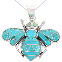 Sterling Silver Bee Pendant Turquoise P3159-C05
