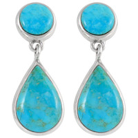 Sterling Silver Earrings Turquoise E1205-C75