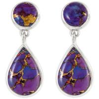 Sterling Silver Earrings Purple Turquoise E1205-C77