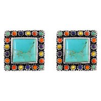 Sterling Silver Earrings Multi Gemstones E1198-C71