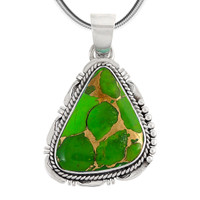 Sterling Silver Pendant Green Turquoise P3148-C76