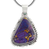 Sterling Silver Pendant Purple Turquoise P3148-C77