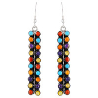 Sterling Silver Earrings Multi Gemstones E1199-C71