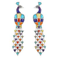 Sterling Silver Peacock Earrings Multi Gemstones E1200-C71