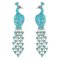Sterling Silver Peacock Earrings Turquoise E1200-C75