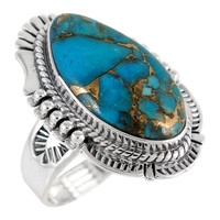 Sterling Silver Ring Matrix Turquoise R2312-C84