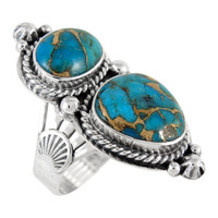 Sterling Silver Ring Matrix Turquoise R2313-C84