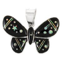 Sterling Silver Butterfly Pendant Black & Opal P3146-C27