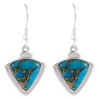 Sterling Silver Earrings Matrix Turquoise E1212-C84