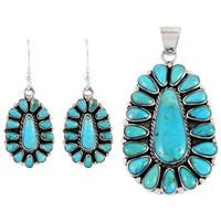 Sterling Silver Pendant & Earrings Set Turquoise PE4029-C75