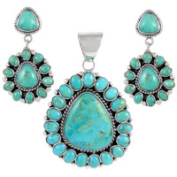 Sterling Silver Pendant & Earrings Set Turquoise PE4024-C75