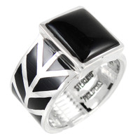 Sterling Silver Ring Black Shell R2372-C11