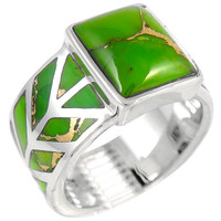 Sterling Silver Ring Green Turquoise R2372-C76
