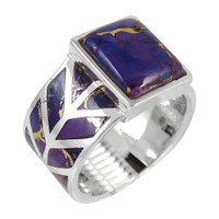 Sterling Silver Ring Purple Turquoise R2372-C77